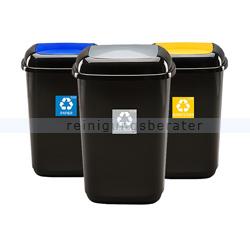 Push-Deckeleimer Quatro 12 L im Set zur Abfalltrennung