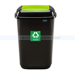 Push-Deckeleimer Quatro 28 L, grün mit Aufdruck Glas