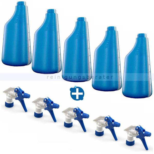 5 Sprühflaschen blau 600 ml inkl. Sprühköpfen weiss/blau