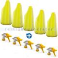 5 Sprühflaschen gelb 600 ml inkl. Sprühköpfen weiss/gelb