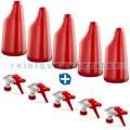 5 Sprühflaschen rot 600 ml inkl. Sprühköpfen weiss/rot