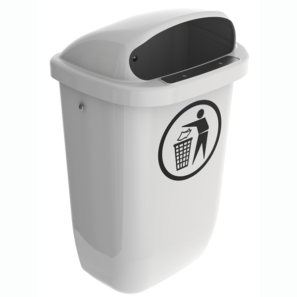 Mülleimer nach DIN PK 50 L Grau mit Abfall Piktogramm