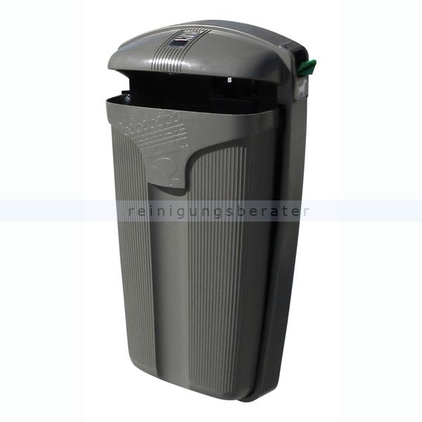 ReinigungsBerater Mülleimer Cibeles 50 L Grau mit Spender mit integriertem Spender für Hundekottüten