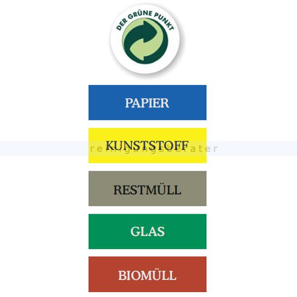 Abfallwagen Zubehör Novocal WAK Aufkleber klein KUNSTSTOFF farbiger Aufkleber in gelb WAK-KL-Kunststoff