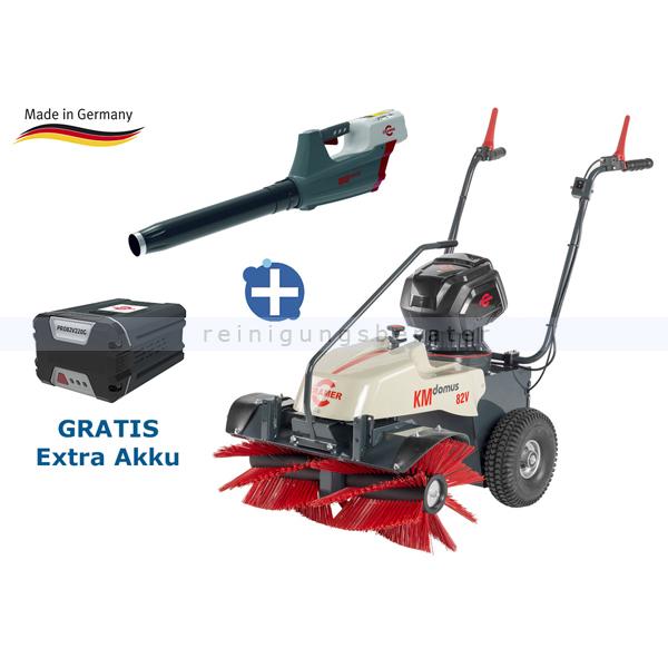 Akku Kehrmaschine Cramer KM Domus mit Laubbläser & GRATIS Akku