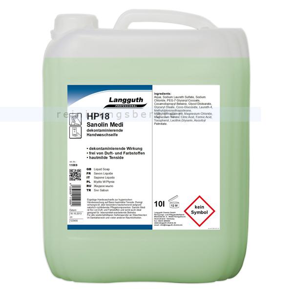 Langguth HP18 Sanolin Medi 10 L antibakterielle Seife Handwaschseife mit antimikrobieller Wirkung 11069