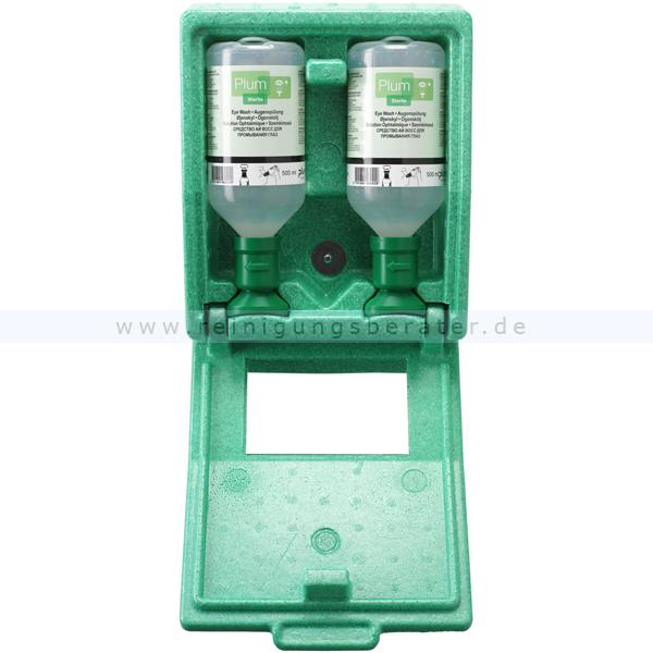 Augenspülstation Plum in Wandbox mit 2 x 500 ml Flaschen Staubdichte Box, mit Flaschen und Spiegel 4650