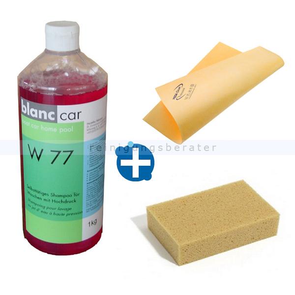 Blanc Car Autowäsche SET zum Autowaschen Auto waschen: 3 teiliges Set aus Autoshampoo, Autoschwamm... 4321535+31758530+