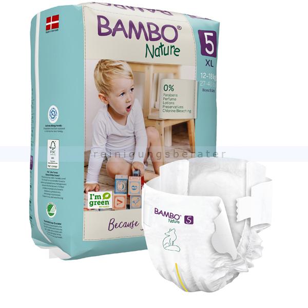BamboNature Babywindeln Abena BAMBO Nature Windeln 12-18 kg Größe 5 22 Stück, die neue Generation umweltfreundlicher Windeln 1000019255