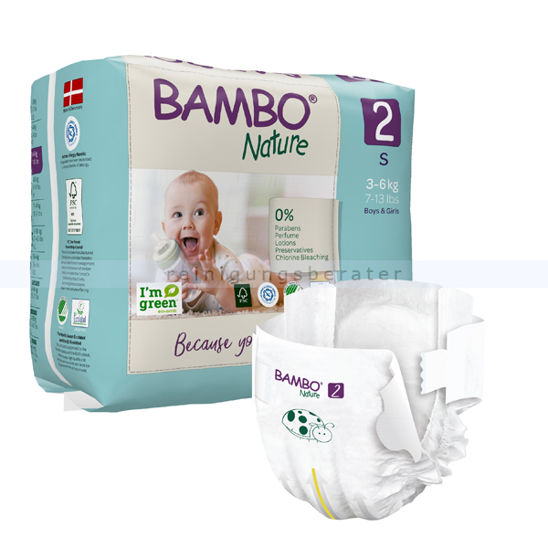 BamboNature Babywindeln Abena BAMBO Nature Windeln 3-6 kg Größe 2 30 Stück, die neue Generation umweltfreundlicher Windeln 1000019252