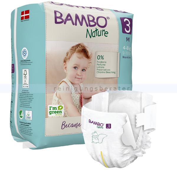 BamboNature Babywindeln Abena BAMBO Nature Windeln 4-8 kg Größe 3 28 Stück, die neue Generation umweltfreundlicher Windeln 1000019253