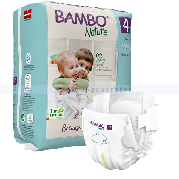 BamboNature Babywindeln Abena BAMBO Nature Windeln 7-14 kg Größe 4 24 Stück, die neue Generation umweltfreundlicher Windeln 1000019254