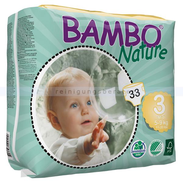 Babywindeln Abena BAMBO Nature Windeln Midi Größe 3 33 Stück, die neue Generation umweltfreundlicher Windeln 310133
