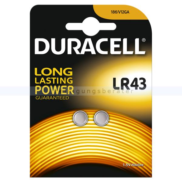 Duracell Alkaline LR43 186/V12GA Knopfzelle Batterie 2 Stück im Blister, 1,5 V Alkaline, Kapazität 105 mAh DuLR43-2