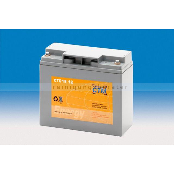 CTM GmbH CTM Blei-Gel Batterie CTC 18-12 Gewinde wartungsfrei, Spannung 12 V, Kapazität C5 14,7 Ah