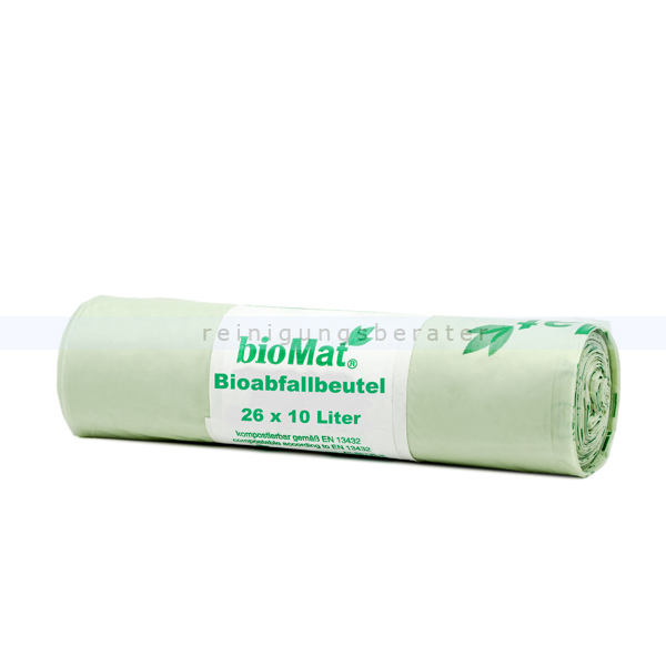 Natura Biomat Bio Müllbeutel kompostierbar 10-12 L Stärke: ca. 17 my, 26 Stück/Rolle, 430x450 mm BS-10-26