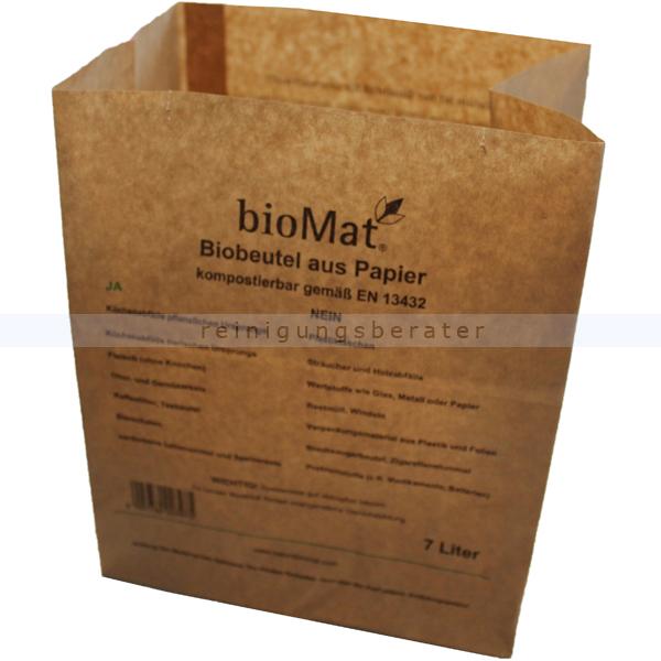 Bio Papierbeutel Natura Biomat kompostierbar 7 L biologisch abbaubar und kompostierbar, 1-lagig nassfest PS-7-NF