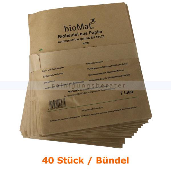 Bio Papierbeutel Natura Biomat kompostierbar 7 L BÜNDEL 40 Stück/Bündel, biologisch abbaubar und kompostierbar PS-7-NF
