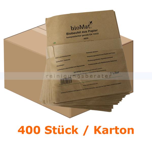 Bio Papierbeutel Natura Biomat kompostierbar 7 L KARTON 400 Stück/Karton, biologisch abbaubar und kompostierbar PS-7-NF