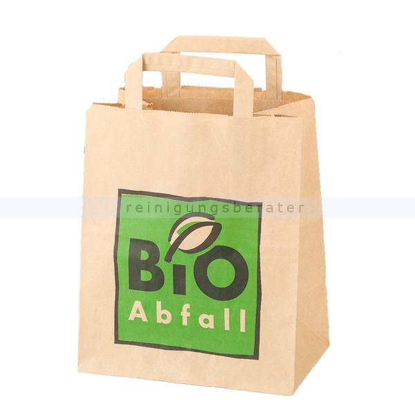 Bio Papierbeutel Natura Biomat kompostierbar mit Henkel 8 L biologisch abbaubar und kompostierbar, 1-lagig nassfest PSH-8-NF
