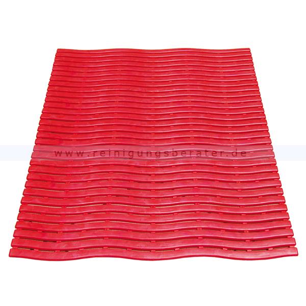 Bodenmatte Miltex Yoga Soft Step® rot 60 x 90 cm Bodenmatte für Nassbereiche mit Kreuz-Quer-Ablauf 13013