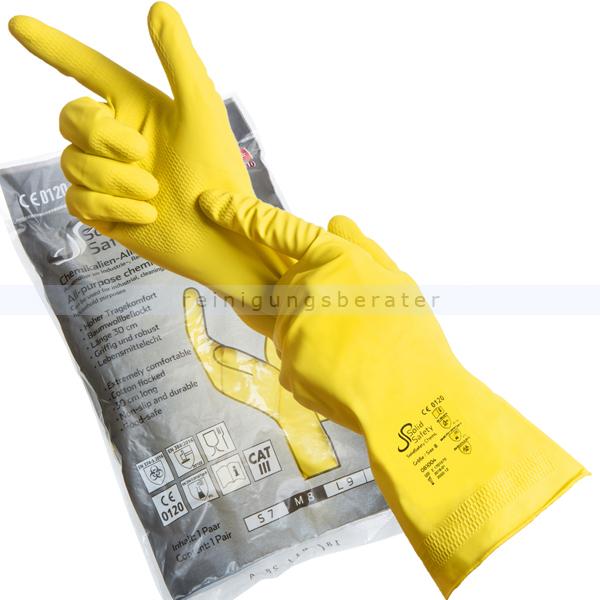 Chemikalien Schutzhandschuhe Ampri Solid Safety gelb S Gr. 7, Latexhandschuhe, PSA Kat. III, EN374 Typ B 81004-S