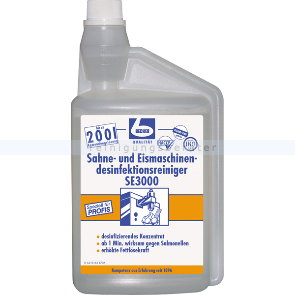 Dr. Becher 1685000 Sahne- und Eismaschinenreiniger 1 L für Sahne- und Eismaschinen, bis zu 200 L Anwendungslösung