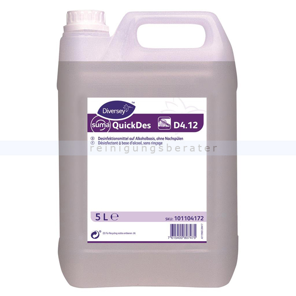 Desinfektionsspray Diversey Suma Quick Des 4.12 5 L Desinfektionsmittel auf Alkoholbasis ohne Nachspülen 101104172