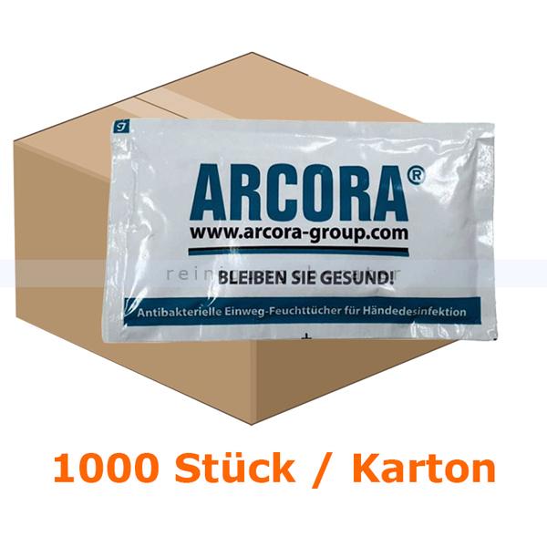 Desinfektionstücher Arcora X-LINE Einwegtücher 1000 Stück Einwegfeuchttücher im Einzelpack für Händedesinfektion 01315