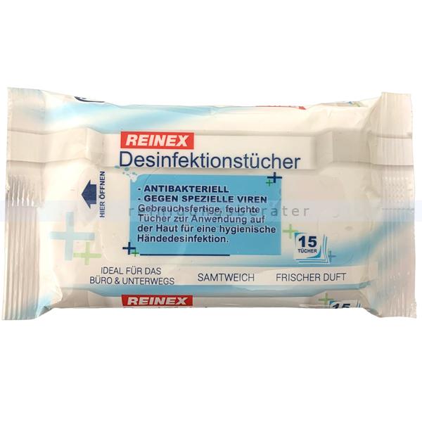 Desinfektionstücher Reinex Händedesinfektion 15 Stück gebrauchsfertig, feuchte Tücher zur Anwendung auf der Haut 7821
