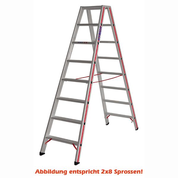 Doppelleiter Hymer Industrie Stufenstehleiter 2x4 Stufen zwei hochfeste Gurtbänder als Spreizsicherung 802408