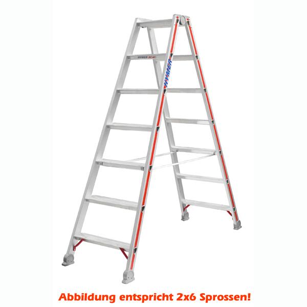 Doppelleiter Hymer Stufenstehleiter 2x4 Stufen Sichere und stabile Gurtbänder, beidseitig begehbar 402408