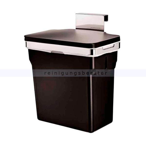 Simplehuman Schrank Abfalleimer 10 L mit Inneneimer CW1643 mit strapazierfähigem Stahlrahmen und Kunststoffeimer