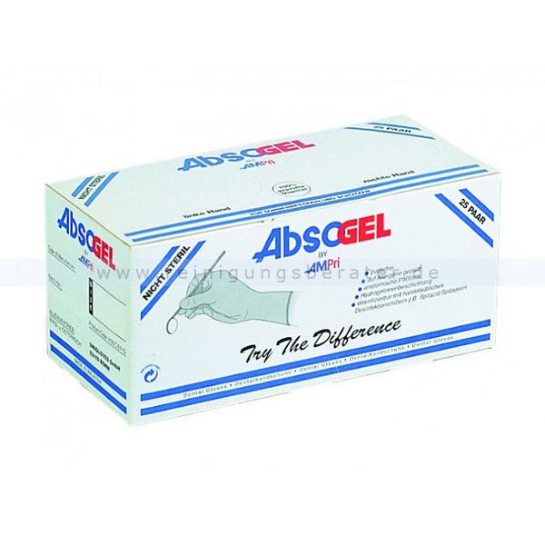 Latexhandschuhe Ampri Absogel Dentalhandschuhe Gr. 5,5 puderfreie Latexhandschuhe, unsteril, 25 Paar/Box 01040-55
