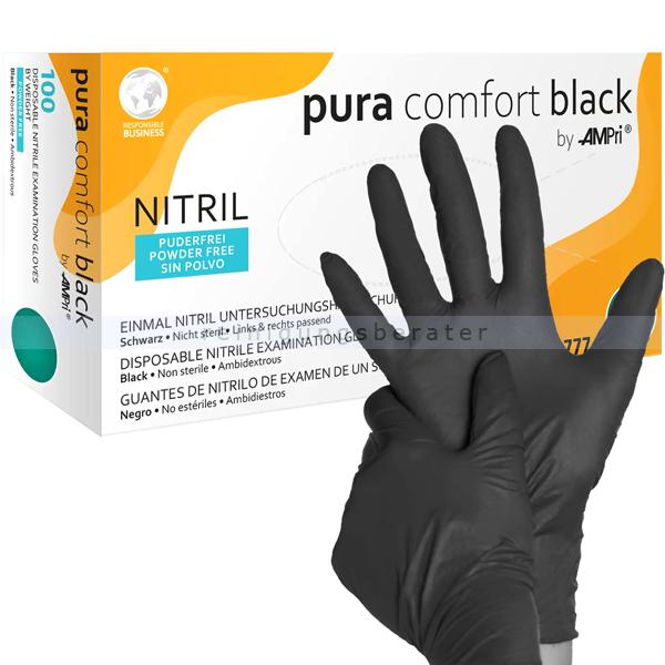Einmalhandschuhe aus Nitril Ampri pura comfort black M