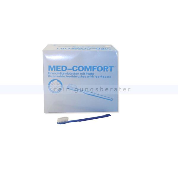 Einmalzahnbürste Ampri Med Comfort blau mit Zahnpasta, 100 Stück/Box 09590-B