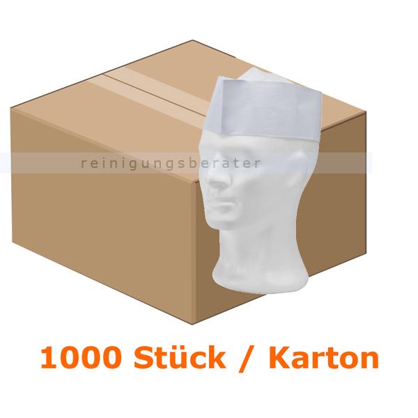Einweghaube Ampri, Papierschiffchen weiß mit Vlieskrone 1000 Stück/Karton 04068-W