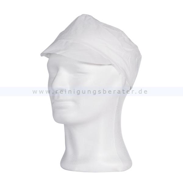 Einweghaube Ampri, PP-Mütze mit Schirm L Einweg-Kopfschutz weiß, Gr. L, 100 Stück/Box 04040-W-L