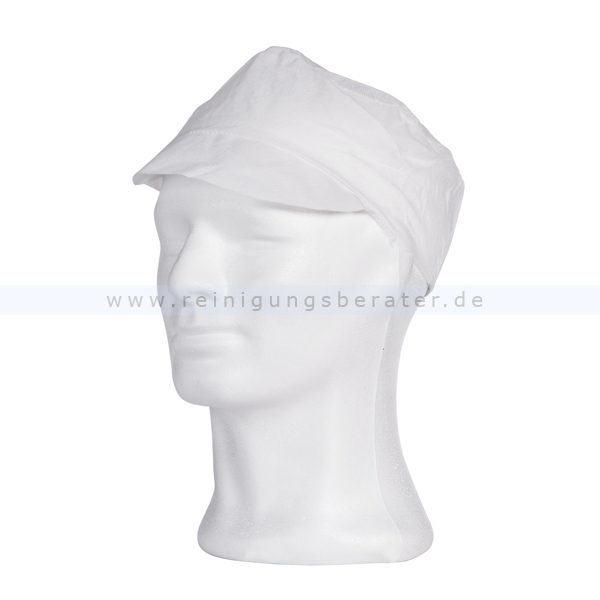 Einweghaube Ampri, PP-Mütze mit Schirm M Einweg-Kopfschutz weiß, Gr. M, 100 Stück/Box 04040-W-M
