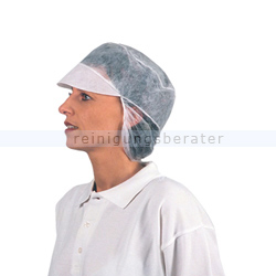 Einweghaube Ampri, PP-Mütze mit Schirm und Haarnetz M