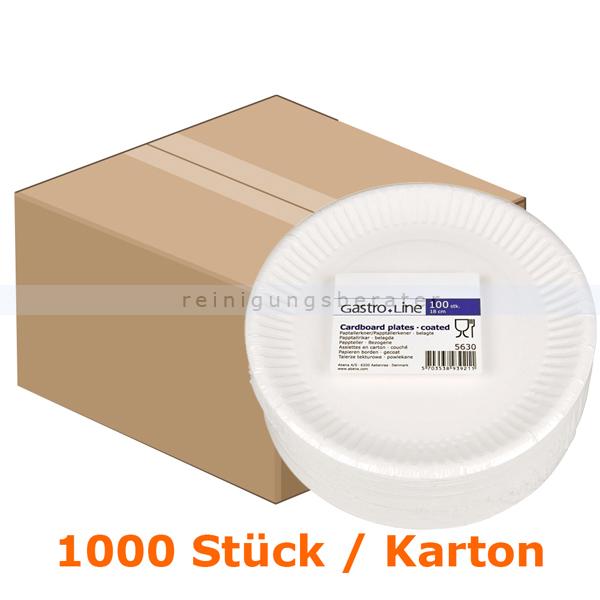 abenagastroline Einwegteller, flacher Teller aus Pappe rund Ř 18 cm 1000 Stk 18 cm Durchmesser, weiß, im Karton 5630