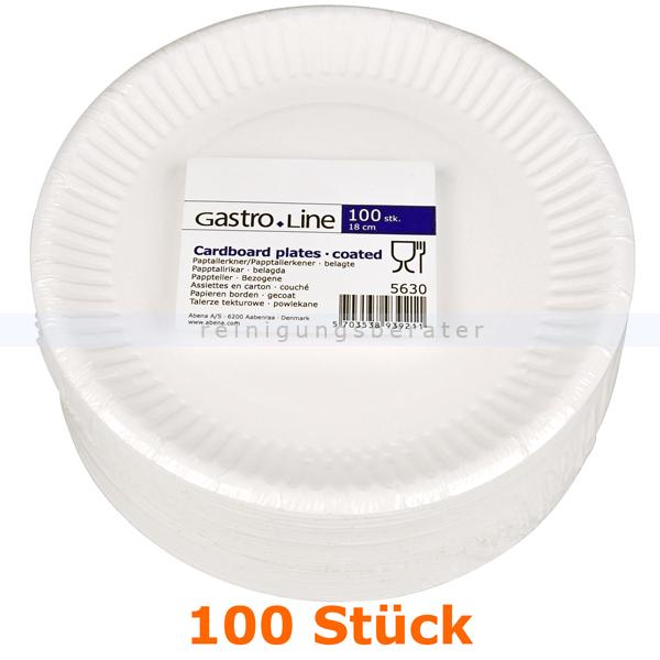 abenagastroline Einwegteller, flacher Teller aus Pappe rund Ř 18 cm 100 Stück 18 cm Durchmesser, weiß 5630