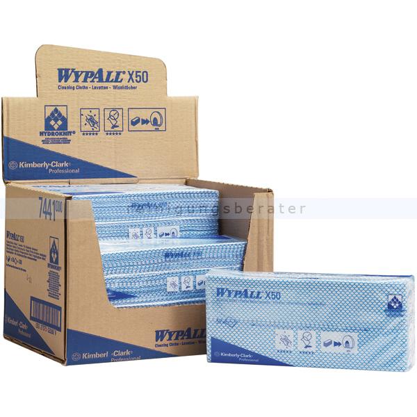 Einwegtücher Kimberly Clark Wypall X50 blau, interfold,