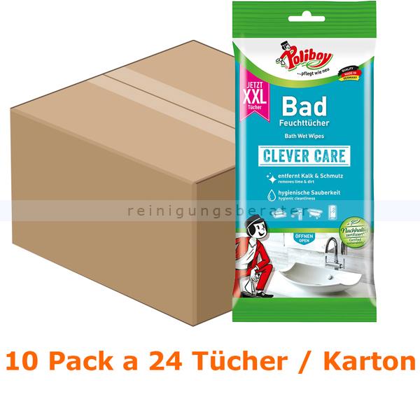 Poliboy XXL Bad Feuchttücher Karton Einwegtücher 10 Pack a 24 Tücher, feuchte Tücher ideal fürs Badezimmer 5304810
