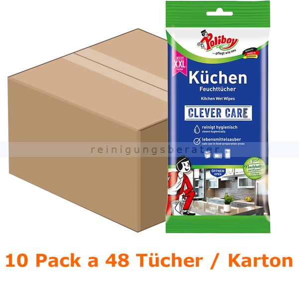 Poliboy XXL Küchen Feuchttücher Karton Einwegtücher 10 Pack a 24 Tücher, Feuchttücher ideal für die Küche 4904810