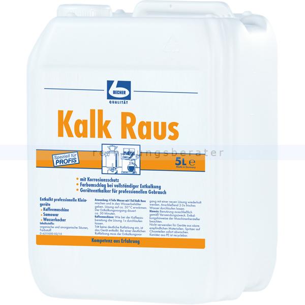 Dr. Becher 1655000 Kalk Raus 5 L Entkalker Küchenmaschinen entkalkt professionell Kleingeräte, mit Zitronensäure