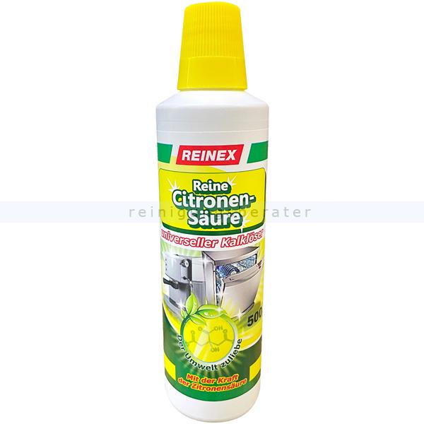 Reinex Zitronensäure 500 ml Entkalker für Küchenmaschinen universeller kalklöser mit reiner Zitronensäure 410