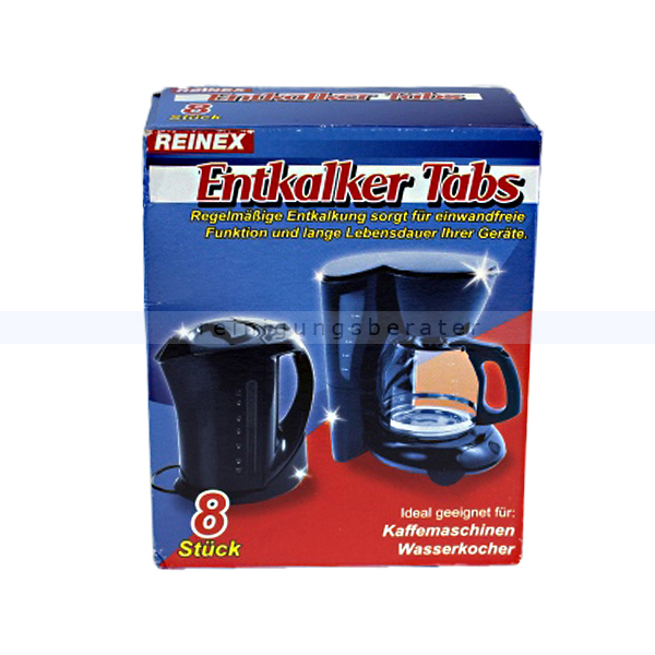 Entkalker Reinex Entkalker-Tabs 8 x 16 g geeignet für Kaffeemaschinen und Wasserkocher 13840