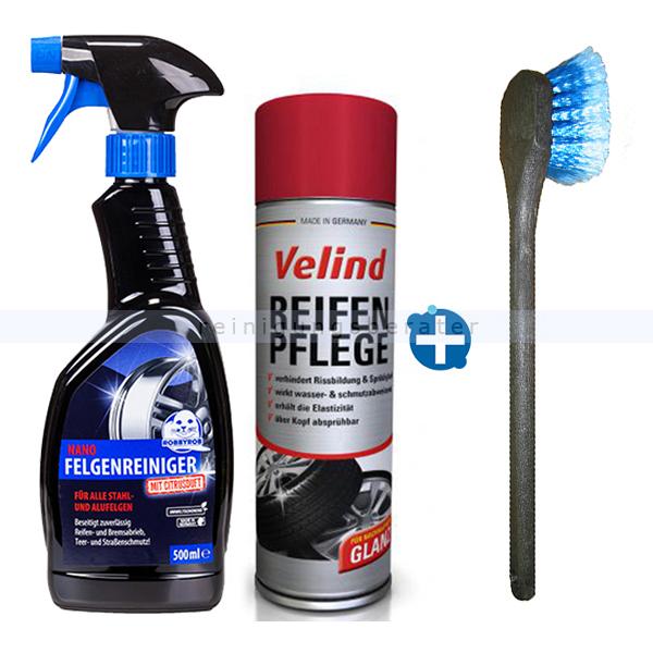 ReinigungsBerater Nano Felgenreiniger im Set Fahrzeugpflege Sets inkl. Felgenreiniger, Reifenglanzspray und Felgenbürste 31811