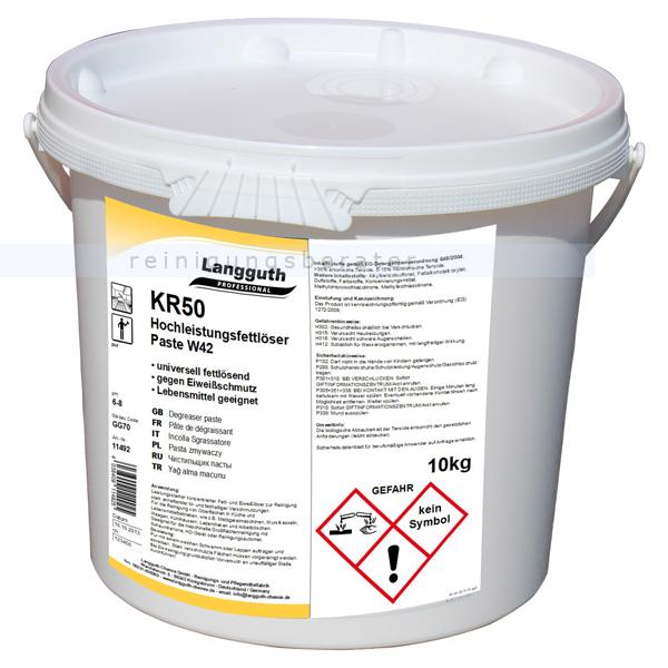 Langguth KR50 Paste W42 10 L Hochleistungsfettlöser für Küchen & Lebensmittelbetriebe 11492